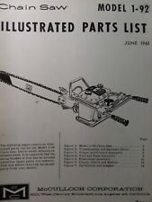 Mcculloch Chain Saw 1 92 Parts Catalog Manual 2 Cycle Gasoline Chainsaw 1961