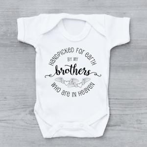 Hand Picked For Earth By My Brothers In Heaven Circle Unisex Baby Grow Bodysuit