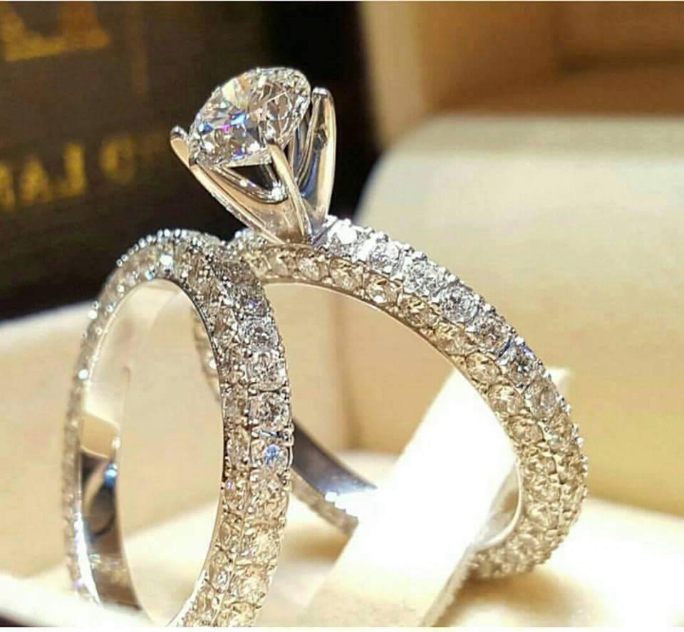 Certified 3.70Ct Round Diamond Bridal Engagement Wedding Ring Set 14K White gold