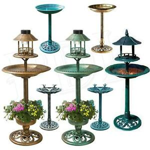 Bird-Bath-Feeder-Bowl-With-Solar-Light-Garden-amp-Patio-Bird-Feeding-Table-Station