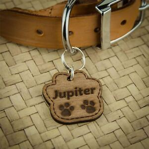 Wooden-Dog-Tags-Pet-ID-Personalised-Engraved-Cat-Name-Tag-Thickness-3mm-Multi