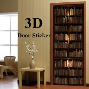 Image Is Loading 3D Door Wall Sticker Self Adhesive Retro Bookshelf