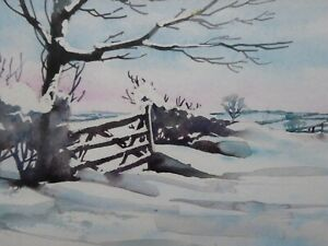 WATERCOLOUR-WINTER-WONDERLAND-VIEW-ARTIST-ARTHUR-WATSON-FREE-SHIPPING-TO-ENGLAND