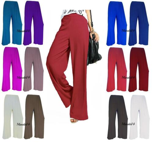 New Women Ladies Plain Palazzo Wide Leg Flared Trousers Pants Plus Size 8-26