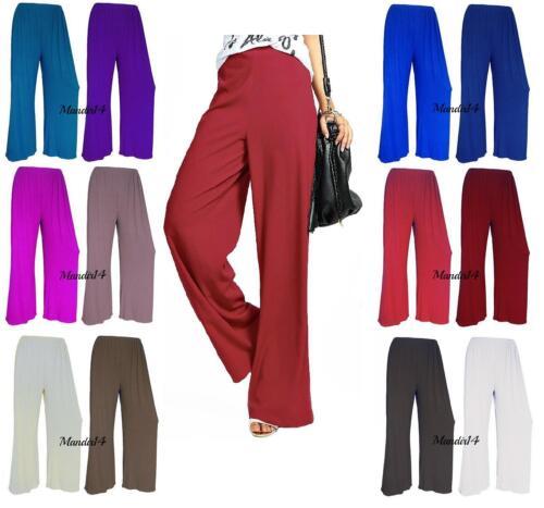 New Women Ladies Plain Palazzo Wide Leg Flared Trousers Pants Plus Size 8-26