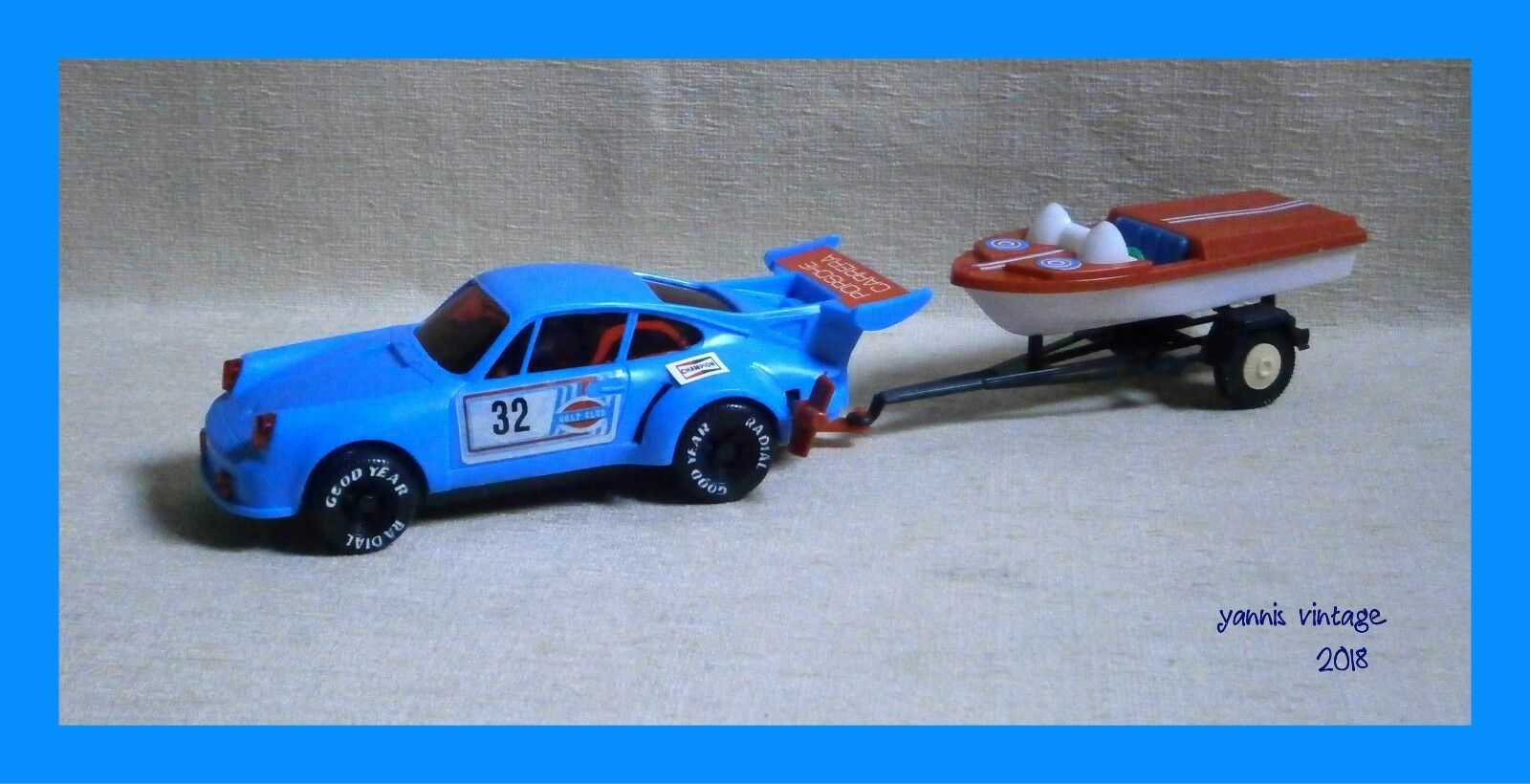 PORSCHE CARRERA & CHRIS-CRAFT   NIB Wind Up Greece Pappas Bros bluee Greek VTG