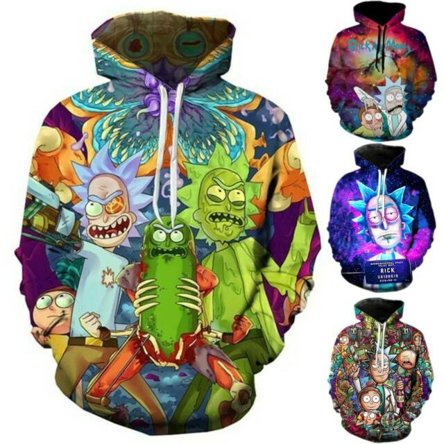 Rick and Morty Mens Womens Hoodie Hooded Casual Jogging Sweater Jumper Pullover