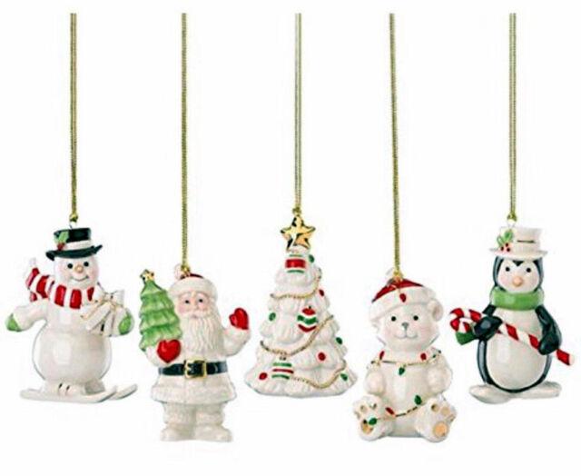 Lenox Very Merry Porcelain Christmas Ornaments Set Of 5