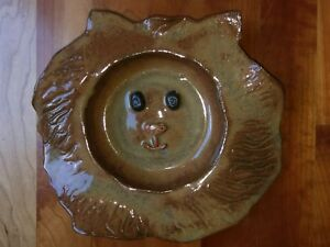 Whimsical-Lion-Face-Handmade-Glazed-Ceramic-Studio-Pottery-African-Jungle-Animal
