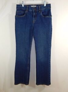 L-L-Bean-Womens-Blue-Denim-Jeans-Classic-Fit-Straight-Leg-Boot-Cut-Size-6-PET