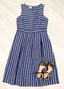 Monsoon-100-Linen-A-Line-Dress-ladies-Sleeveless-Sz-16-Navy-Blue-White-Stripe