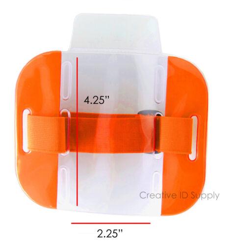 Réfléchissant Orange Arm Band Photo ID Badge Holder verticale avec bande élastique