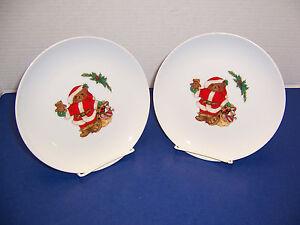 "Mikasa Christmas Bear 2 Salad Dessert Plates 7.5"" Santa Bag of Toys Japan L5370"