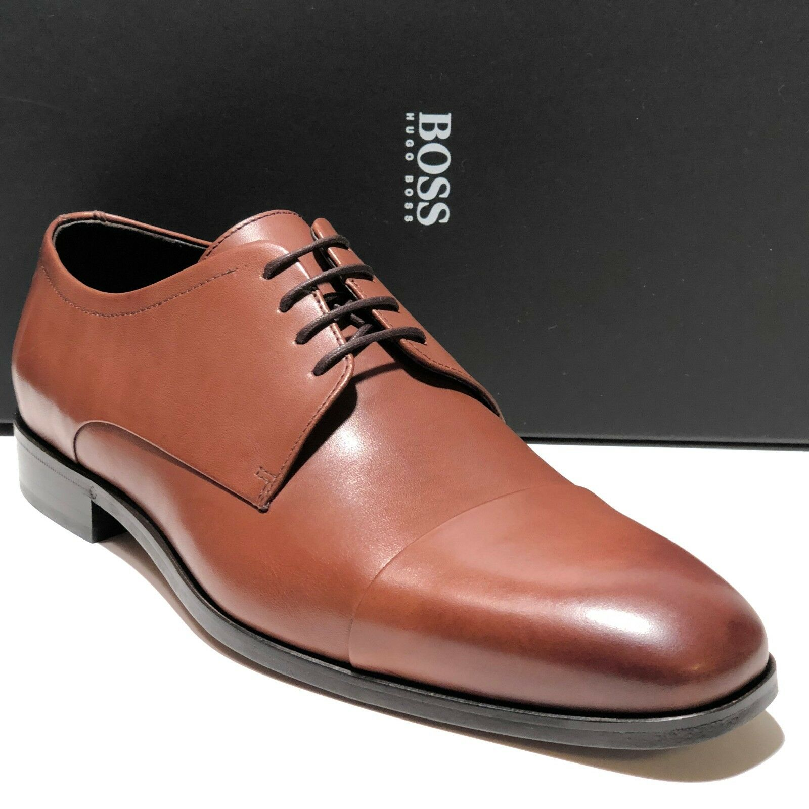SPECIAL! HUGO BOSS Dress Brown Leather COLOSONS Captoe Mens Oxford Dress BOSS Formal Casual e07e0f