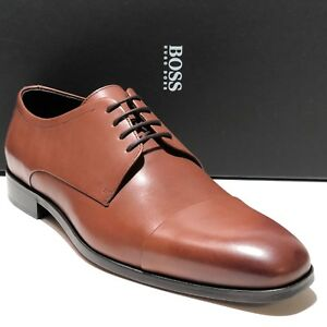 9daa395d7f2 SPECIAL! HUGO BOSS Brown Leather COLOSONS Captoe Mens Oxford Dress ...