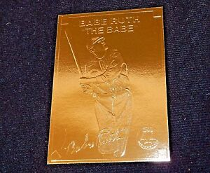 Details About Babe Ruth 22k Gold Foil Baseball Card 1996 Plastic Holder Wserial Rare