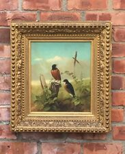 Superb 19th Century American Oil Painting. Mating Robins In A Landscape C1860