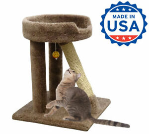 Details About Wooden Cat Scratching Bed Kitty Scratcher Sisal Post Beige Brown Gray Blue Green