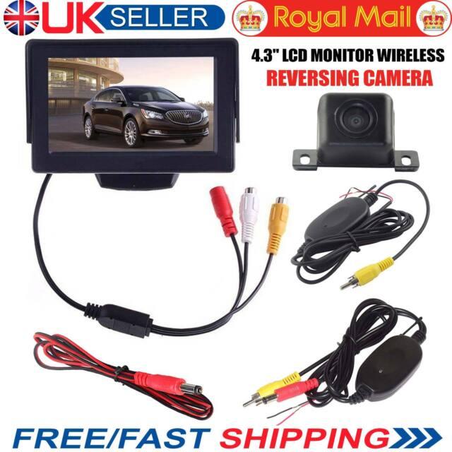 "Wireless IR Reversing Parking Camera+4.3"" LCD Monitor Foldable Car Rear View Kit"