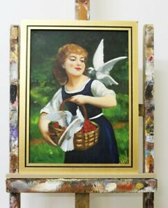 Portrait-of-a-Girl-Real-Handmade-Frame-Oil-Painting-Picture-Pictures-G96106