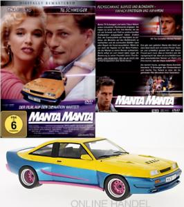 Opel-Manta-B-Mattig-gelb-blau-1991-MCG-1-18-DVD-Manta-Manta-der-Film