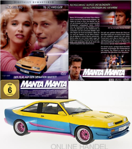 Opel-Manta-B-Mattig-amarillo-azul-1991-mcg-1-18-DVD-manta-manta-de-la-pelicula