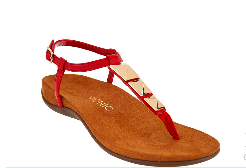 NEW Vionic Orthotic Embellished Leather T-Strap Sandals - NALA RED Size 7