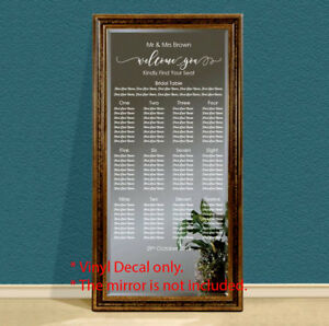 Custom Wedding Table Seating Chart Plan Sticker Vinyl Decal Sign