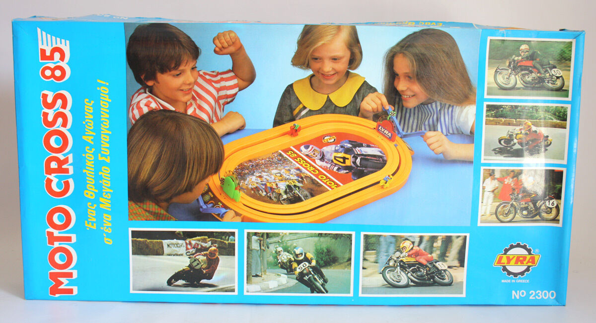 RARE VINTAGE 1985 MOTO CROSS 85 BY LYRA SLOT RACE GREEK GREECE NEW MIB
