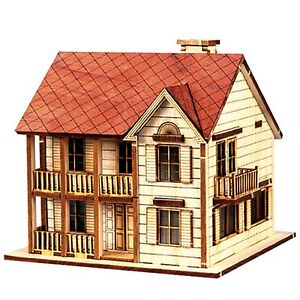 Details About Wood House Model Kit Western Style Ho Scales Wooden Miniature Series S1 Diorama