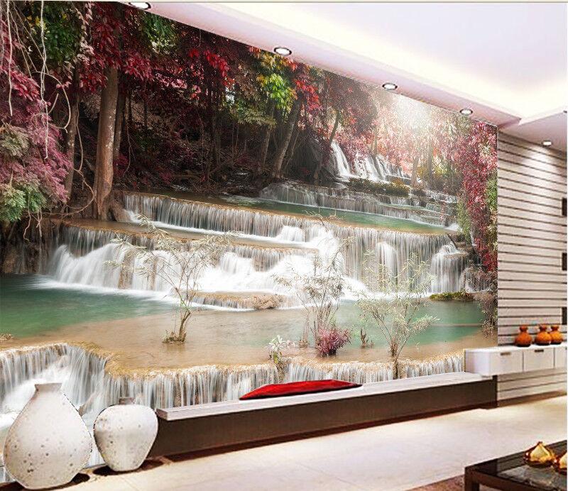 3D Waldwasserfall 625 Tapete Tapeten Mauer Foto Familie Tapete Wandgemälde DE