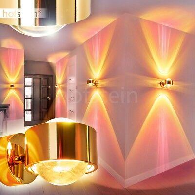 edle goldfarbene Up Down Strahler Wand Leuchten Flur Lampen Wohn Schlaf Zimmer