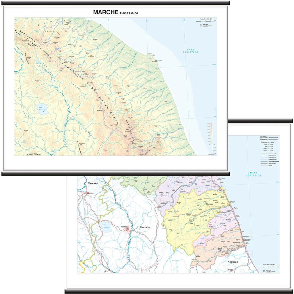 Marche Cartina Politica.Marche Cartina Scolastica Regionale Murale Bi Facciale 132x99 Cm Mappa Ebay