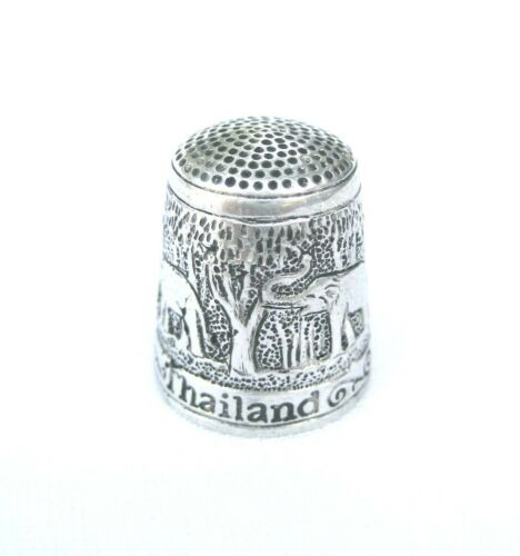 Pewter Fingerstall Thimble Souvenir Thailand Collection Elephant #3