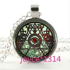 Skull All Seeing Eye Cabochon Tibetan silver Glass Chain Pendant Necklace #1075