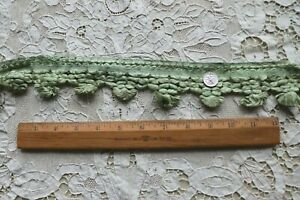 BTY Antique c1920s French Silk Pale Green Passementerie Yardage~9 yds available