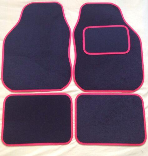 CAR FLOOR MATS FOR HYUNDAI I10 GETZ AMICA I20 I30 I40 BLACK WITH RED TRIM