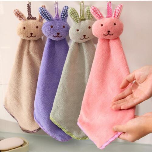 Baby Hand Towel Cartoon Animal Rabbit Plush Kitchen Hanging Bath Wipe Towel Pink
