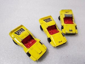 3-x-Woosh-N-Push-No-58-1972-Lesney-Matchbox-Superfast-Diecast-Car-Yellow