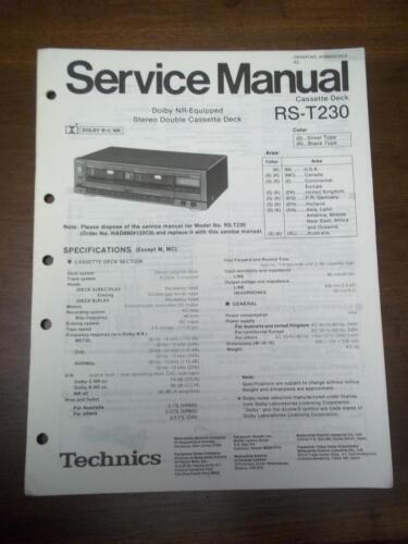 Original Technics Service Manual for the RS-T230 Cassette Deck~Repair