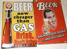 2 x BEER METAL TIN SIGNS vintage cafe pub bar - SEE DOUBLE + CHEAPER THAN GAS