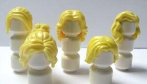 5-LEGO-Femmes-Fille-Femme-blonde-jaune-perruque-de-cheveux-pour-figurine-Long-Court