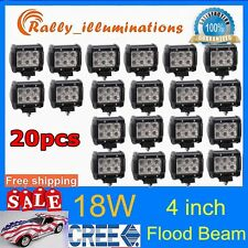 20X 4inch 18W CREE FLOOD LED LIGHT BAR WORK LAMP OFFROAD BOAT UTE CAR TRUCK USA