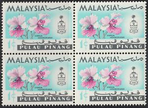 MALAYSIA PENANG 1965 ORCHIDS 1c B/4 MNH