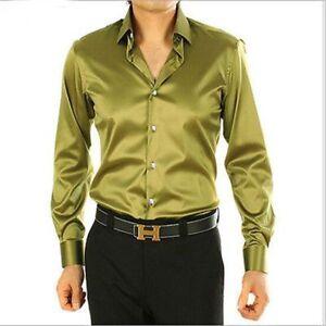 Army-Green-Men-039-s-Wedding-Shirts-Long-Sleeve-Silk-Satin-Prom-Groom-Men-039-s-Shirts