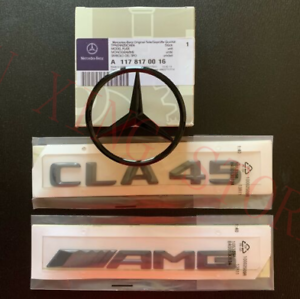 Gloss Black Mercedes CLA W117 Rear Boot Star CLA45 AMG Badge Emblem Set
