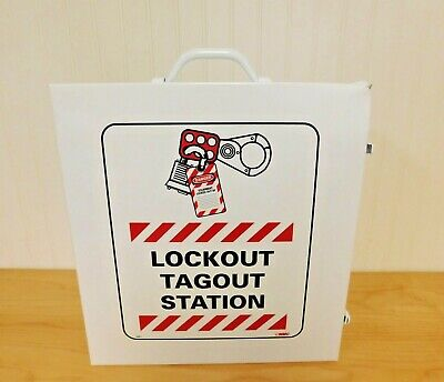 NMC LOC1 27 Piece Equipped Lockout Cabinet Kit White