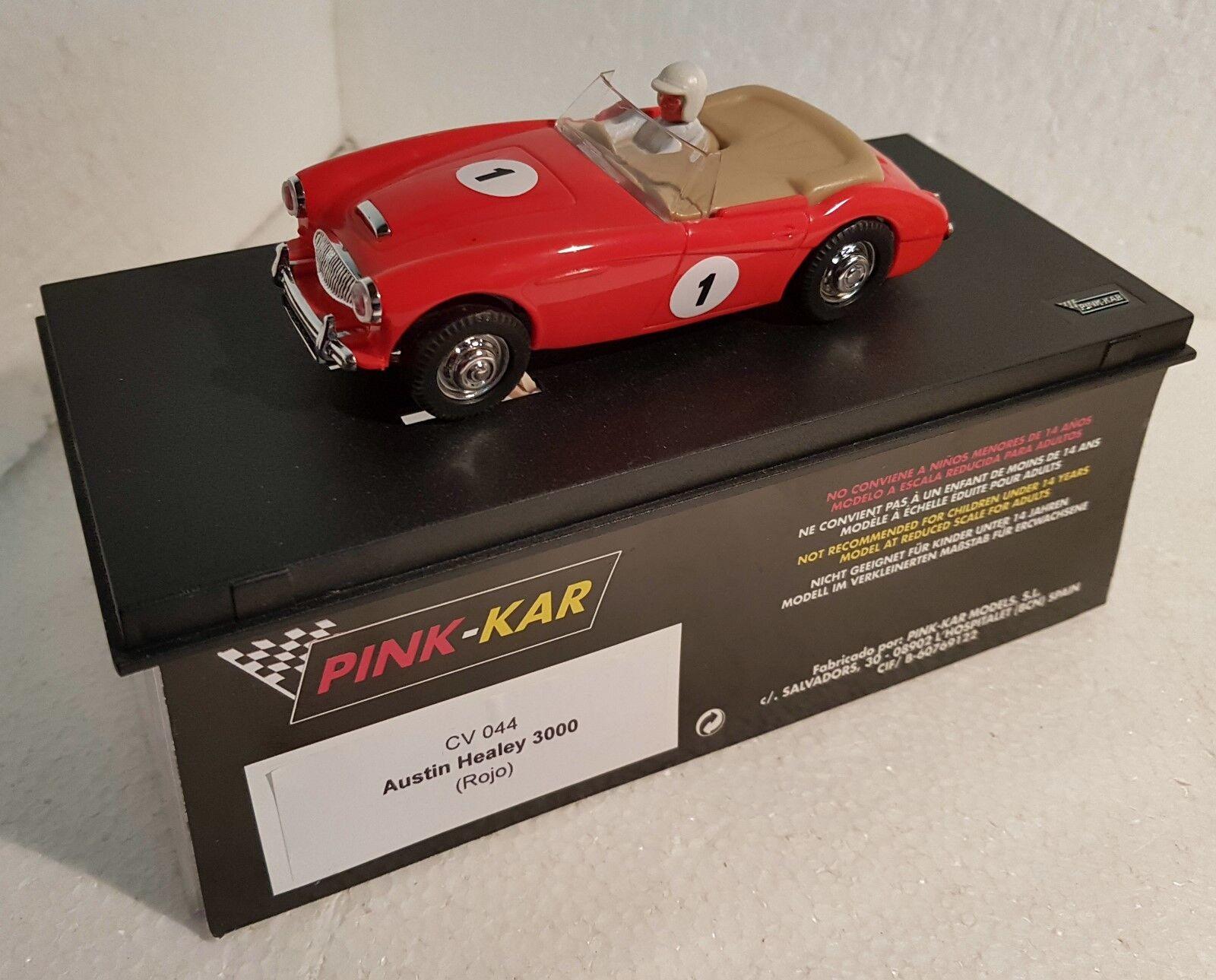 qq PINK KAR CV044 AUSTIN HEALEY 3000 3000 3000 ROUGE Rouge dans original etiquette boîte 59004b