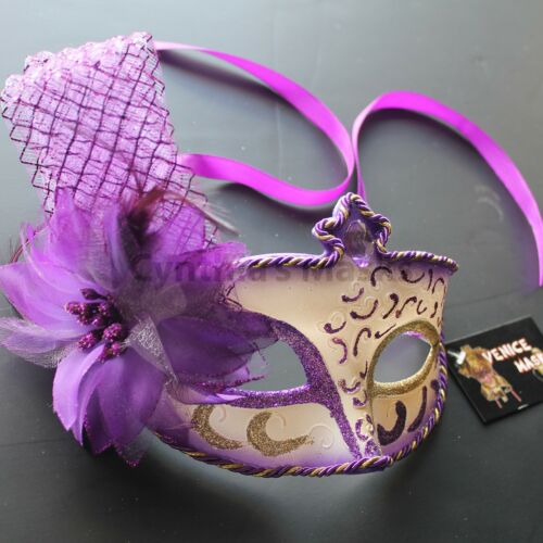 Regal Purple Floral Venetian Masquerade Mask Party Prom Wedding Halloween