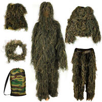 Adults Woodland Camo/camouflage 3d Hide Hunting Shooting Ghillie Burlap Suit